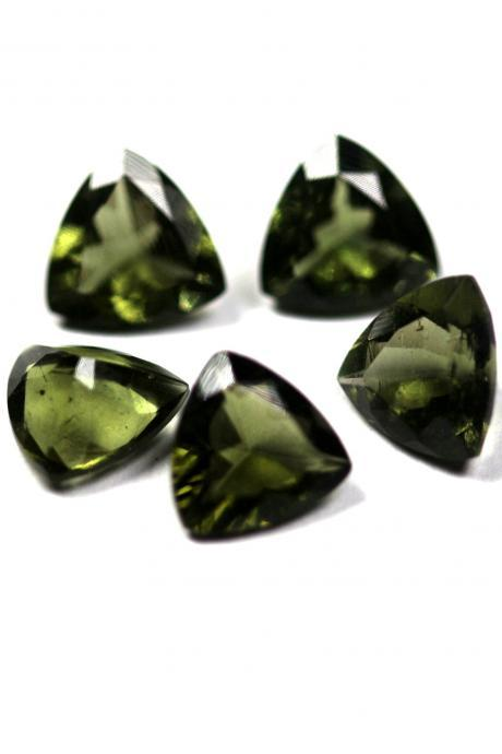 6mm Natural Moldavite Faceted Cut Trillion Top Quality Green Color 2 Piece Loose Gemstone Wholesale Lot For Sale