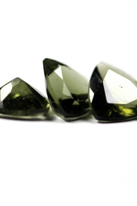 8mm Natural Moldavite Faceted Cut Trillion Top Quality Green Color 2 Piece Loose Gemstone Wholesale Lot For Sale