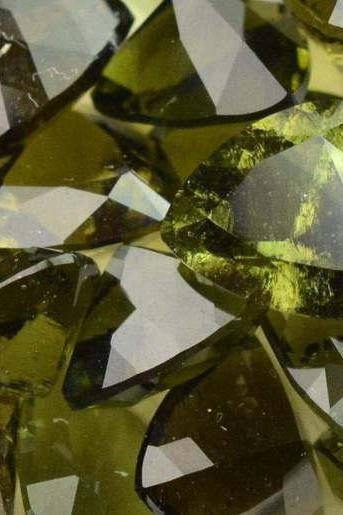 11mm Natural Moldavite Faceted Cut Trillion Top Quality Green Color 10 Pieces Loose Gemstone Wholesale Lot For Sale