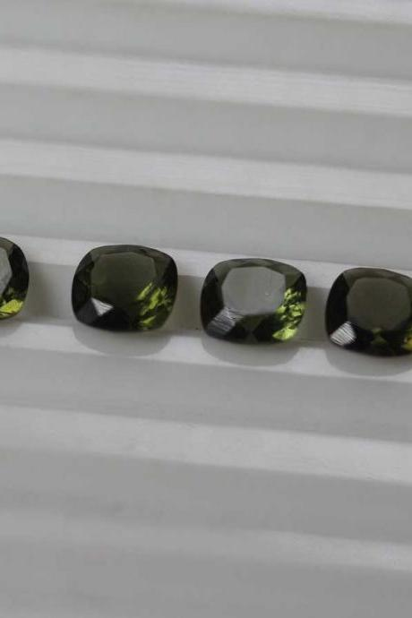 7mm Natural Moldavite Faceted Cut Cushion Top Quality Green Color 2 Piece Loose Gemstone Wholesale Lot For Sale