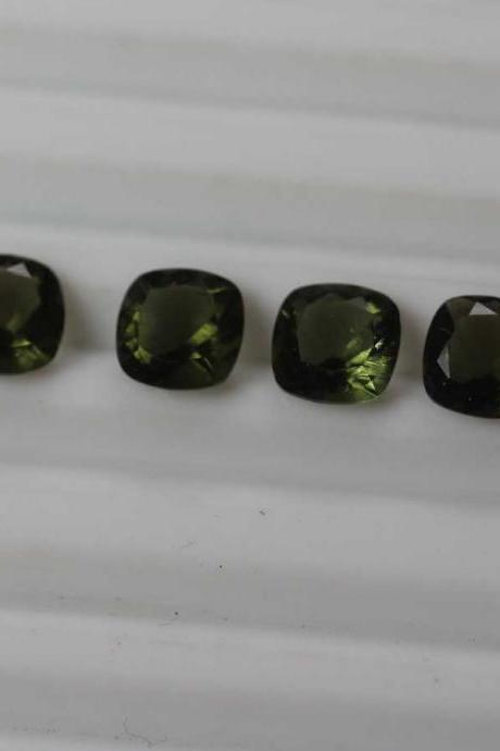 10mm Natural Moldavite Faceted Cut Cushion Top Quality Green Color 10 Pieces Loose Gemstone Wholesale Lot For Sale
