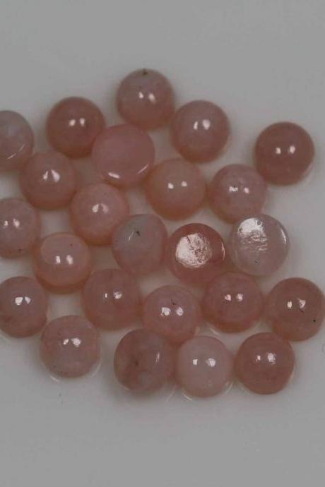 4mm Natural Pink Opal 50 Pieces Lot Cabochon Round Top Quality Pink Color Loose Gemstone Wholesale Lot For Sale