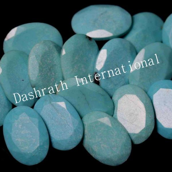 7X9mm Natural Turquoise Oval Faceted Cut 50 Pieces Lot Calibrated Size Top Quality Loose Gemstone