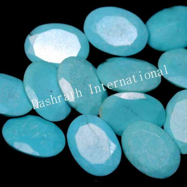 7X9mm Natural Turquoise Oval Faceted Cut 75 Pieces Lot Calibrated Size Top Quality Loose Gemstone