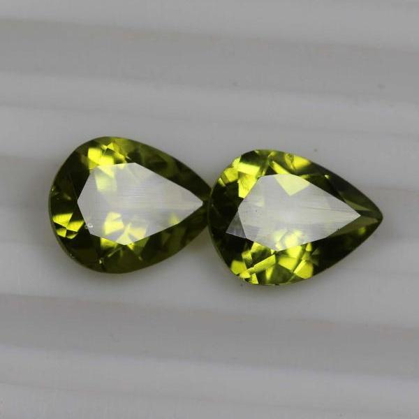 6x8mm Natural Peridot Faceted Cut Pear 2 Piece (1 Pair) Calibrated Size VS Quality Green Color Loose Gemstone