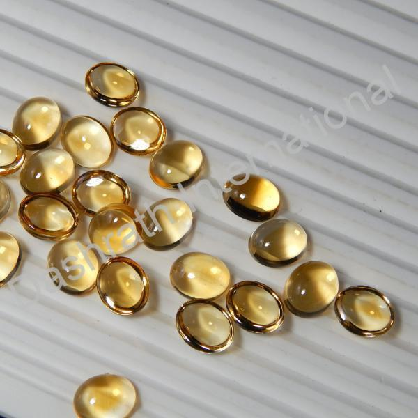 3x5mm Natural Citrine Cabochon Oval 25 Pieces Lot Yellow Color Calibrated Size Top Quality Loose Gemstone