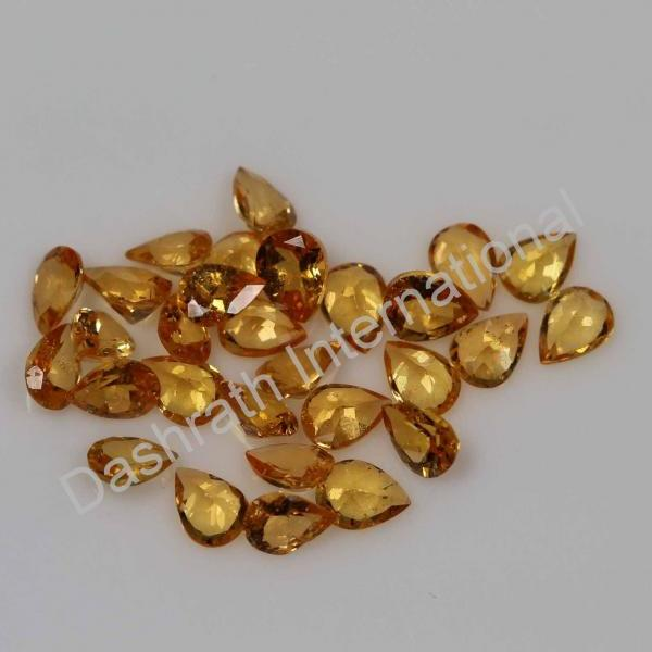 3x5mm Natural Orange Garnet Faceted Cut Pear 100 Pieces Lot Orange Color Calibrated Size Top Quality Loose Gemstone