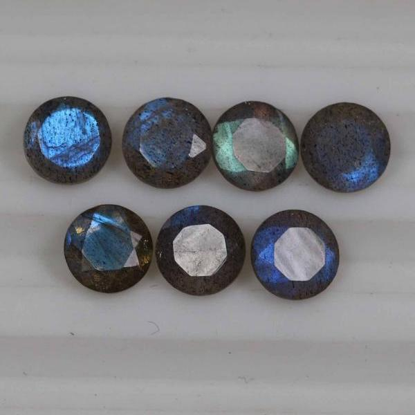 12mm Natural Labradorite Faceted Cut Round 10 Pieces Lot Gray Color Blue Power Calibrated Size Top Quality Loose Gemstone