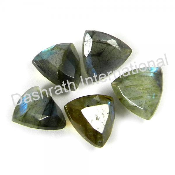 9mm Natural Labradorite Faceted Cut Trillion 2 Piece (1 Pair) Gray Color Blue Power Calibrated Size Top Quality Loose Gemstone