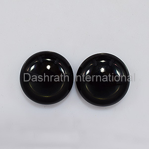 16mm Natural Black Onyx Cabochon Round  2 Piece (1 Pair ) Top Quality Black Color Loose Gemstone Wholesale Lot For Sale