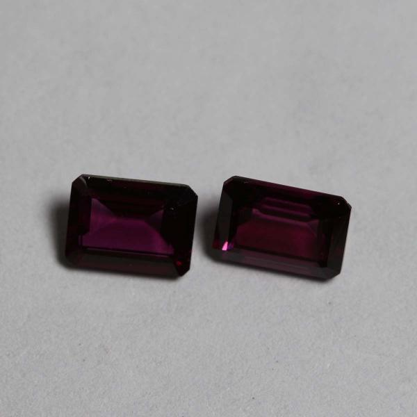 7x5mm Natural Rhodolite Garnet Faceted Cut Octagon 2 Piece (1 Pair) Red Pink Color Top Quality Loose Gemstone