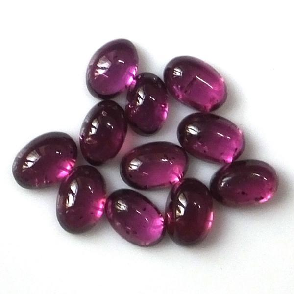 8x6mm Natural Rhodolite Garnet Cabochon Oval 2 Piece (1 Pair ) Red Pink Color Top Quality Loose Gemstone