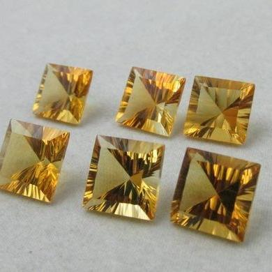 5mm Natural Citrine Concave Cut Square 2 Piece (1 Pair) Calibrated Size Top Quality yellow Color Loose Gemstone