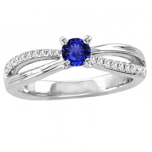 Sterling Silver Ring With Natural Tanzanite 4.5mm Round Cut And White Topaz Gemstone Ring