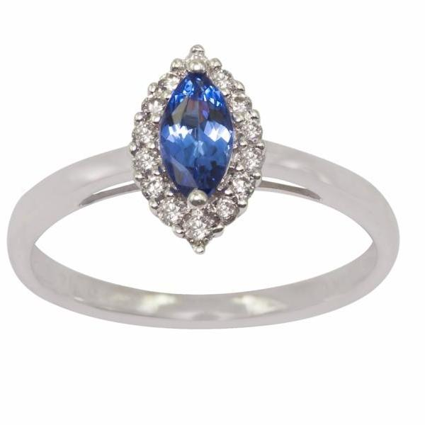 Sterling Silver Ring With Genuine Natural Tanzanite 7x3.5mm Marquise Cut And White Topaz Gemstone Ring