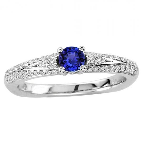 925 Sterling Silver Ring With Genuine Natural Tanzanite 4mm Round Cut And White Topaz Gemstone Ring