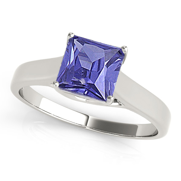 Sterling Silver Ring With Genuine Natural Tanzanite 6mm Princess Cut Gemstone Ring