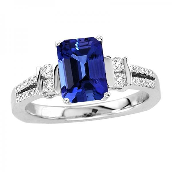Sterling Silver Ring With Genuine Natural Tanzanite 8x6mm Octagon Cut And White Topaz Gemstone Ring