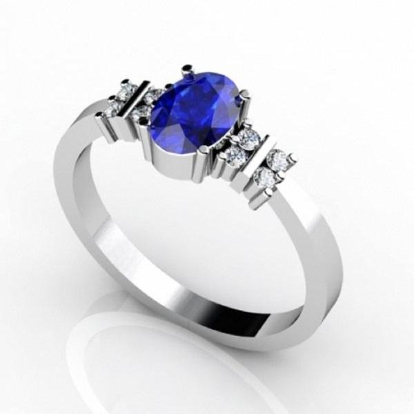 Sterling Silver Ring With Genuine Natural Tanzanite 7x5mm Oval Cut And White Topaz Gemstone Ring