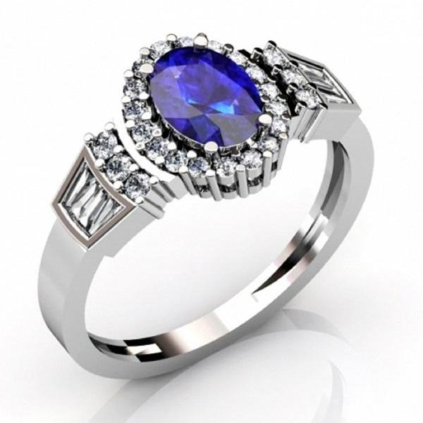 925 Silver Ring With Genuine Natural Tanzanite 7.5x5.5mm Oval Cut And White Topaz Gemstone Ring