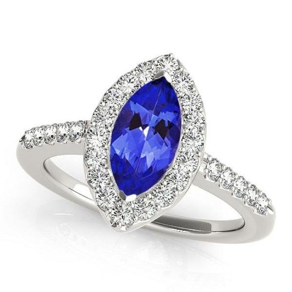 925 Sterling Silver Ring With Genuine Natural Tanzanite 3x6mm Marquise Cut And White Topaz Gemstone Ring