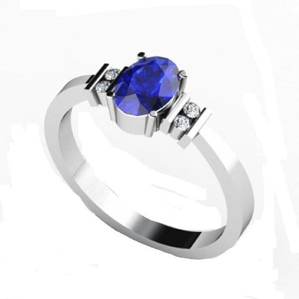 925 Sterling Silver Ring With Genuine Natural Tanzanite 4x6mm Oval Cut And White Topaz Gemstone Ring
