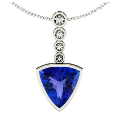 925 Sterling Silver Pendant With Genuine Natural Tanzanite 7mm Trillion Cut And White Topaz Gemstone Pendant