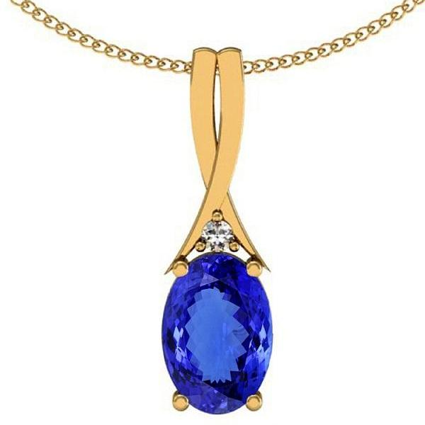 Silver With Yellow Rhodium Pendant With Genuine Natural Tanzanite 4.5x6.5mm Oval Cut And White Topaz Gemstone Pendant