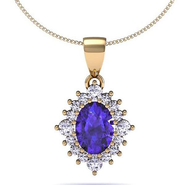 925 Silver With Yellow Rhodium Pendant With Genuine Natural Tanzanite 7.5x5.5mm Oval Cut And White Topaz Gemstone Pendant