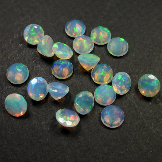 Natural Ethiopian Opal Faceted Cut 6mm Round 10 Pieces Lot Multi Fire Opal Loose Gemstone Wholesale Lot