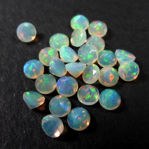 Natural Ethiopian Opal Faceted Cut 6mm Round 50 Pieces Lot Multi Fire Opal Loose Gemstone Wholesale Lot