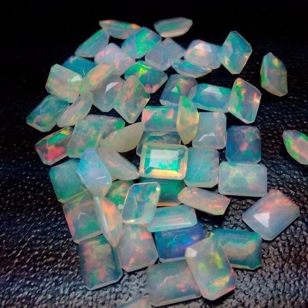 Natural Ethiopian Opal Faceted Cut 6x8mm Octagon 10 Pieces Lot Multi Fire Opal Loose Gemstone Wholesale Lot