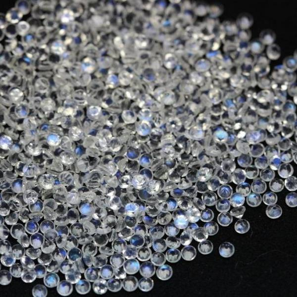 Natural Rainbow Moonstone 1.5mm 50 Pieces Lot Faceted Cut Round Top Quality Blue Power - Loose Gemstone