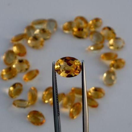 Natural Citrine - 7x5mm 100 Pieces Lot Calibrated Size Faceted Cut Oval Yellow Color - Natural Loose Gemstone
