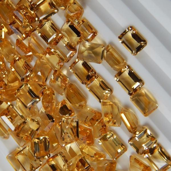 Natural Citrine - 9x7mm 50 Pieces Lot Calibrated Size Faceted Cut Octagon Yellow Color - Natural Loose Gemstone