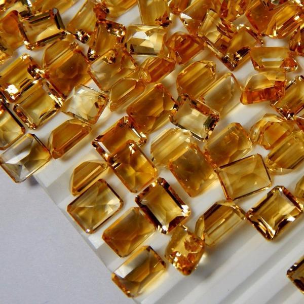 Natural Citrine - 8x10mm 2 Pieces Calibrated Size Faceted Cut Octagon Yellow Color - Natural Loose Gemstone