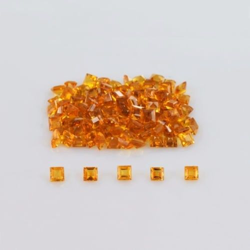 Natural Citrine - 4mm 25 Pieces Lot Calibrated Size Faceted Cut Square Yellow Color - Natural Loose Gemstone