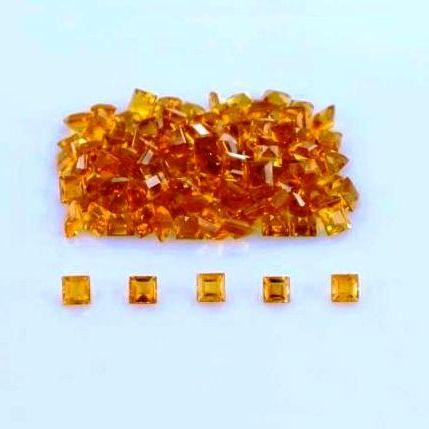 Natural Citrine - 4mm 50 Pieces Lot Calibrated Size Faceted Cut Square Yellow Color - Natural Loose Gemstone