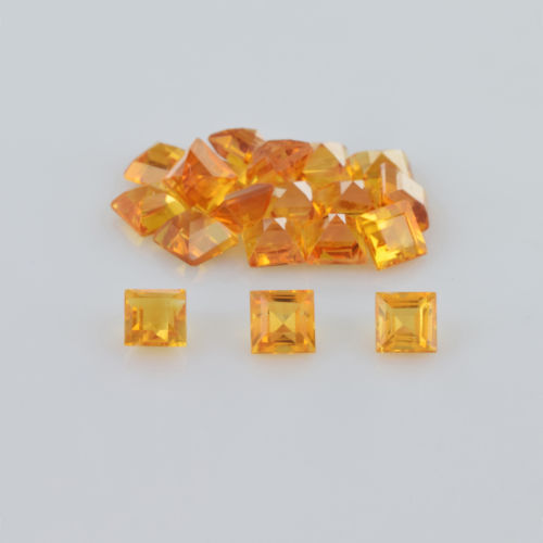 Natural Citrine - 5mm 100 Pieces Lot Calibrated Size Faceted Cut Square Yellow Color - Natural Loose Gemstone