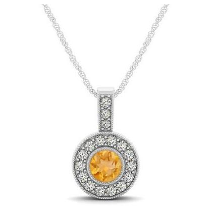 925 Silver Natural Citrine 6mm Round And White Topaz Gemstone Pendant