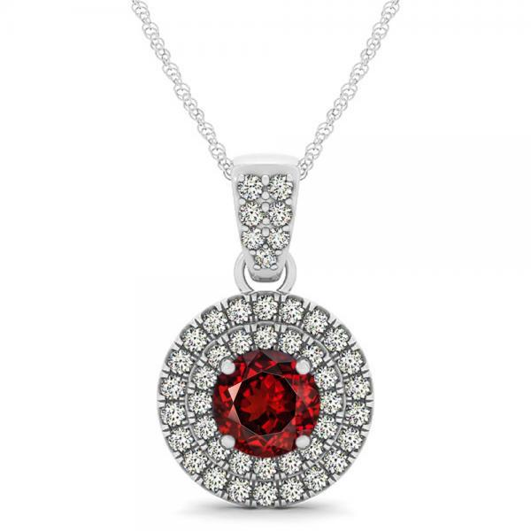 925 Silver Natural Red Garnet 6mm Round And White Topaz Gemstone Pendant