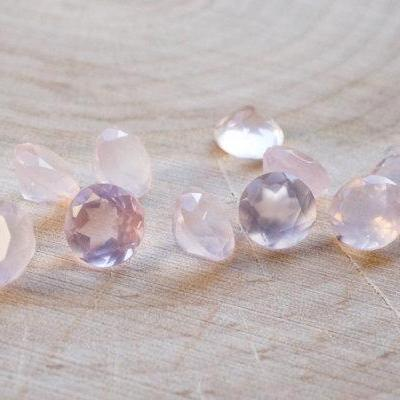 Natural Rose Quartz - 8mm 5 Pieces Lot Faceted Cut Round Pink Color - Natural Loose Gemstone
