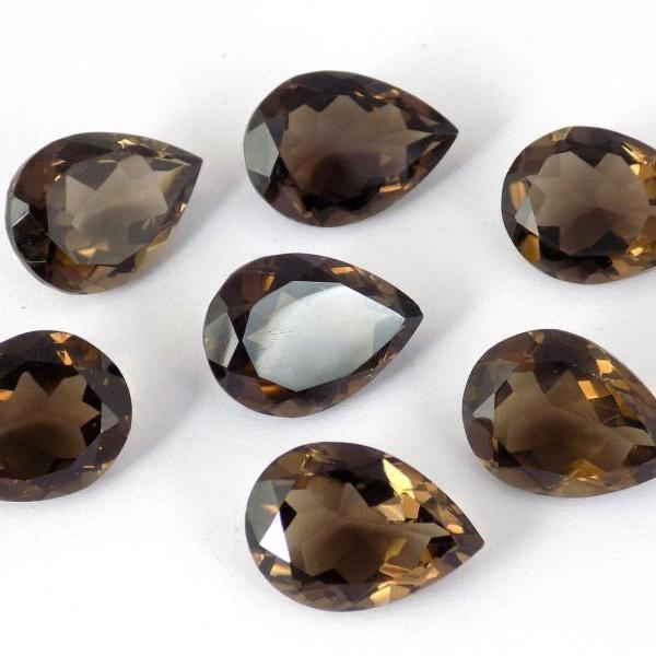 Natural Smoky Quartz 16x12mm Faceted Cut Pear 5 Pieces Lot Brown Color Top Quality - Natural Loose Gemstone Wholesale Lot For Sale
