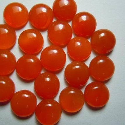 Natural Carnelian 6mm Cabochon Round 10 Pieces Lot Orange Color - Natural Loose Gemstone