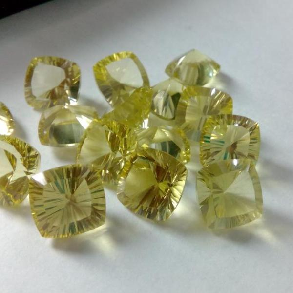Natural Lemon Quartz 10mm Cushion Concavre Cut 25 Pieces Lot Yellow Color - Natural Loose Gemstone