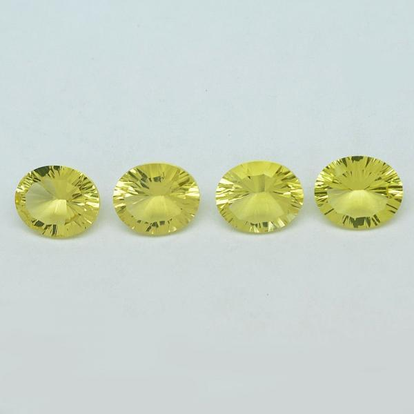 Natural Lemon Quartz 9x11mm Oval Concavre Cut 5 Pieces Yellow Color - Natural Loose Gemstone