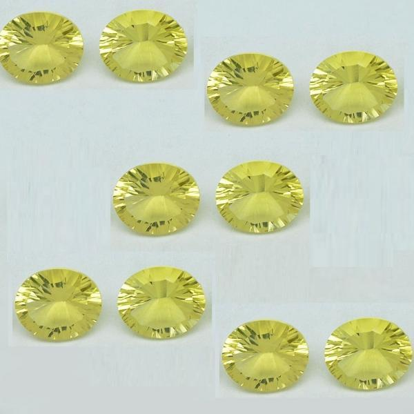 Natural Lemon Quartz 9x11mm Oval Concavre Cut 10 Pieces Yellow Color - Natural Loose Gemstone