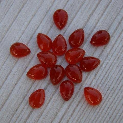 Natural Carnelian 7x5mm Cabochon Pear 10 Pieces Lot Orange Color - Natural Loose Gemstone
