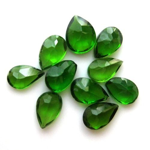 Natural Chrome Diopside- 7x5mm 25 Pieces Lot Faceted Pear Calibrated Size Green Color - Loose Gemstone