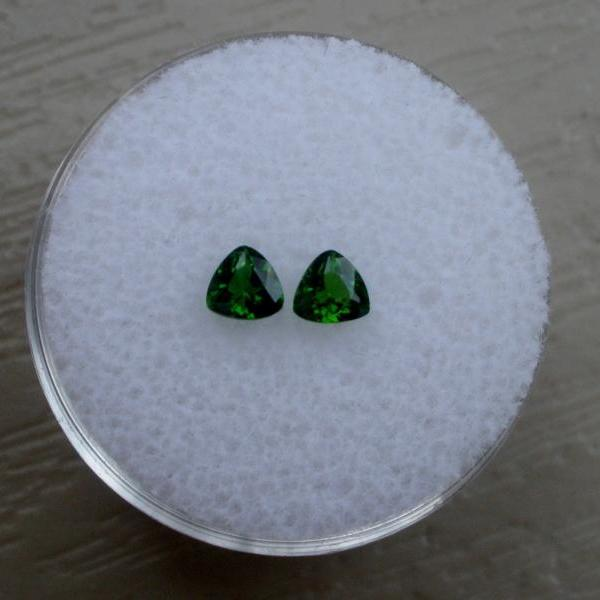 Natural Chrome Diopside- 4mm 2 Pieces Lot Faceted Trillion Calibrated Size Green Color - Loose Gemstone